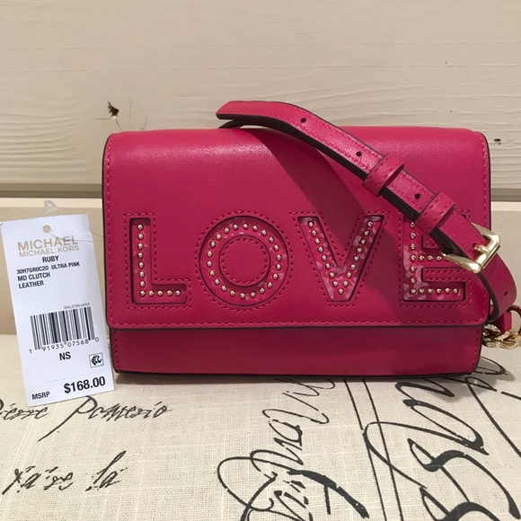535a14f95f42 Michael Kors Bags | Ruby Leather Love Crossbodyclutch | Poshmark